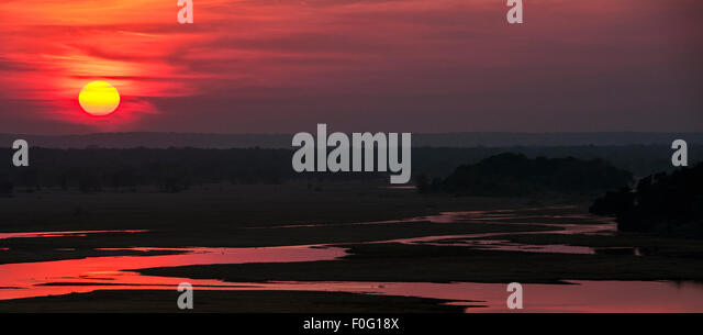 Gonarezhou National Park and Save river at dawn Zimbabwe Africa - Stock Image