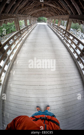 Canada, British Columbia, Wooden bridge in Whistler - Stock Image
