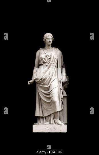 Allegorical sculpture (Fame) by Valeriano Salvatierra y Barriales, Museo del Prado, Madrid - Stock Image