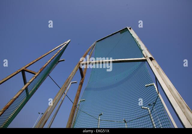 wide angle view of an athletics hammer throwing circle - Stock Image