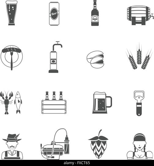 Beer Icons Black Set - Stock Image