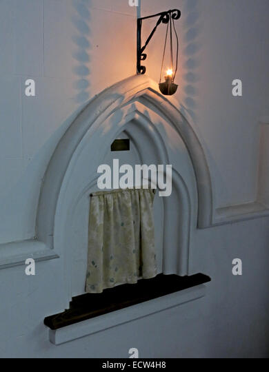 Holy Trinity Church Woodgreen Witney lit tabernacle , West Oxfordshire, England, UK - Stock Image