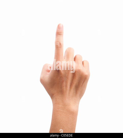 hand of man touching the screen - Stock Image