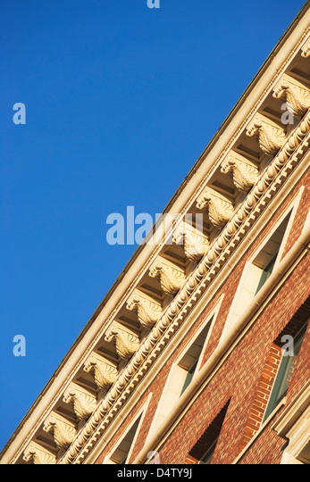 Low angle view of roof ledge - Stock Image