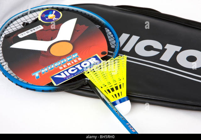 Badminton racket and shuttlecock brand new - Stock Image