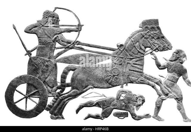 Assyrian Warriors, Two-Wheeled Chariot - Stock Image