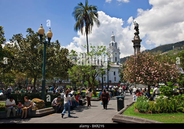 Ecuador, Independence Square in the Old City of Quito. - Stock Image