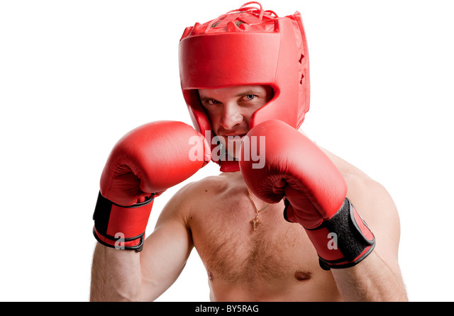 Professional boxer stance isolated on white background - Stock Image