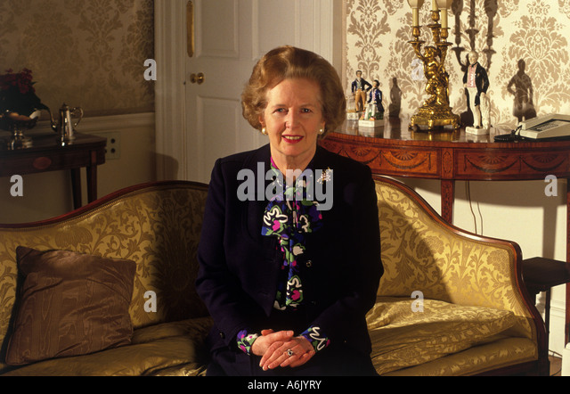 MARGARET THATCHER at 10 Downing Street while Prime Minister - Stock Image
