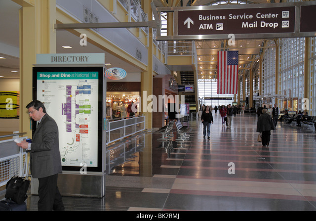 Virginia Arlington Ronald Reagan Washington National Airport DCA terminal lower level shops directory map sign location - Stock Image