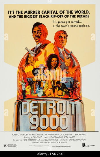 DETROIT 9000, U.S. poster art, top: Hari Rhodes, Alex Rocco; center: Vonetta McGee, 1973 - Stock Image