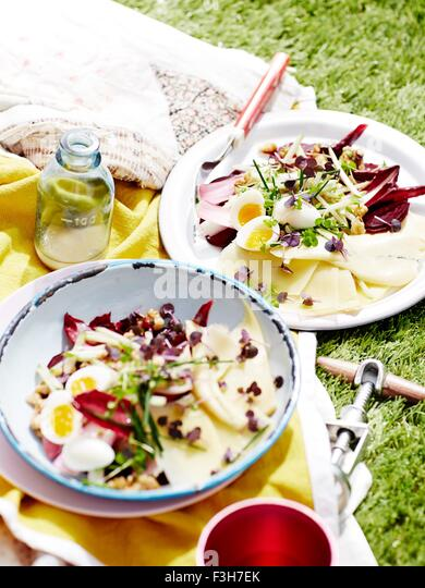 Two plates of salad on picnic blanket, close-up - Stock Image