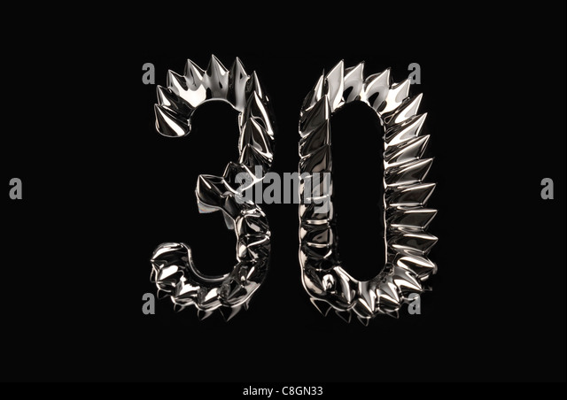The number 30 thirty shown in ferro magnetic liquid - Stock Image