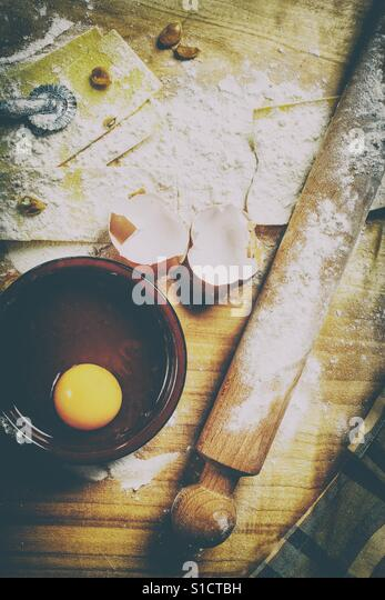 Making pasta with ingredients and kitchen tools - Stock-Bilder