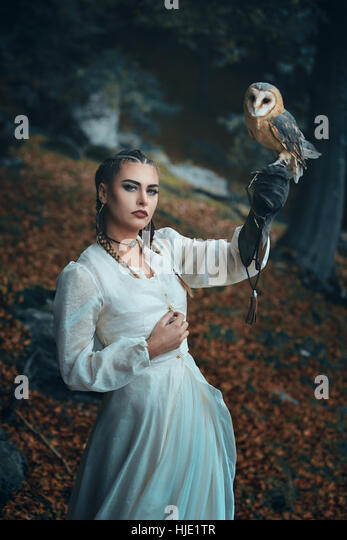 Elegant dressed woman with barn owl . Fantasy and falconry - Stock-Bilder