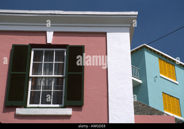 Bermuda St. George homes windows shutters nation - Stock Image