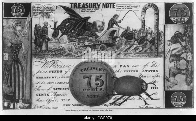 The Panic of 1837. Political cartoon mocking temporary bank notes. 1837 - Stock Image