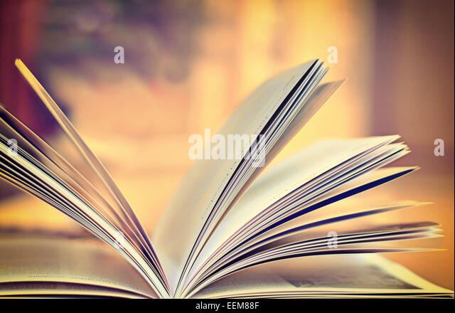 Close up of open book - Stock Image