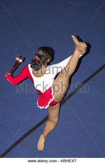 MAK78609 Atheletic floor rhythmic gymnastics graceful exercises Bombay Mumbai Maharashtra India - Stock Image