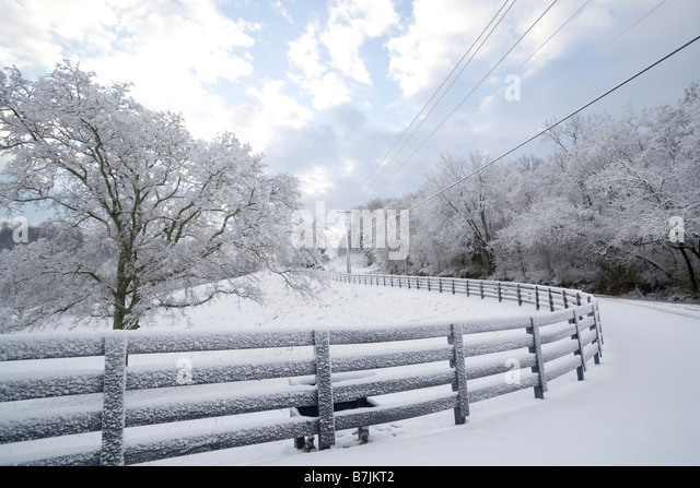 Power lines along road in Franklin, Tennessee in the winter - Stock Image