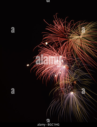 Red and yellow fireworks - Stock Image