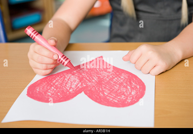 Drawing a heart shape - Stock Image