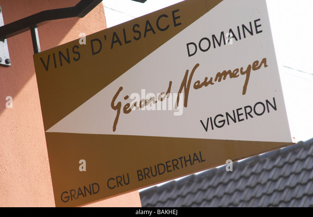 sign domaine gerard neumeyer alsace france - Stock Image