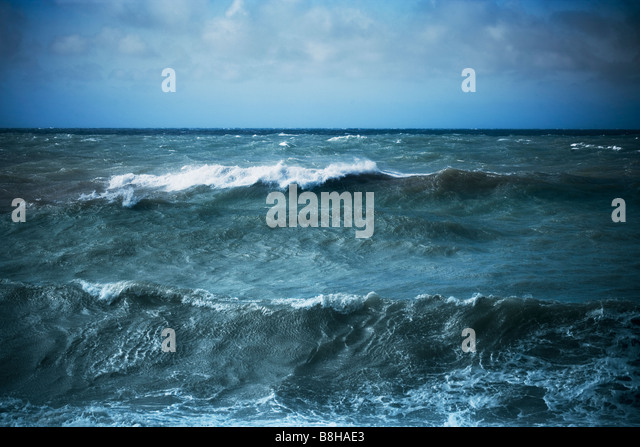 Stormy seascape. - Stock Image