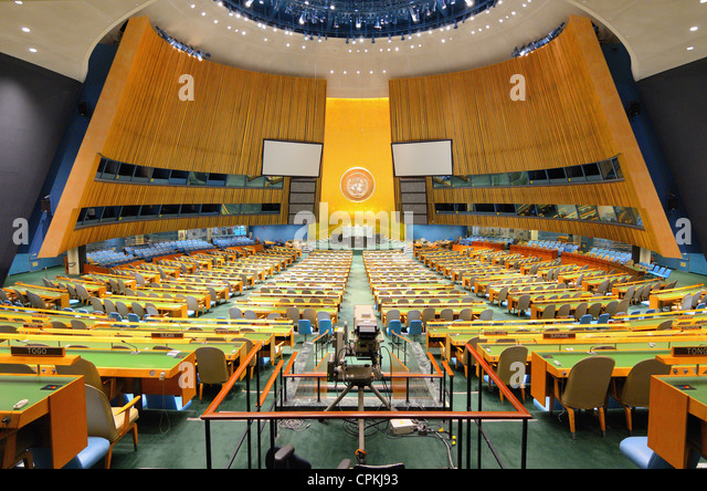 Interior of the United Nations General Assembly Hall at the United Nations Headquarters in New York, New York, USA. - Stock Image