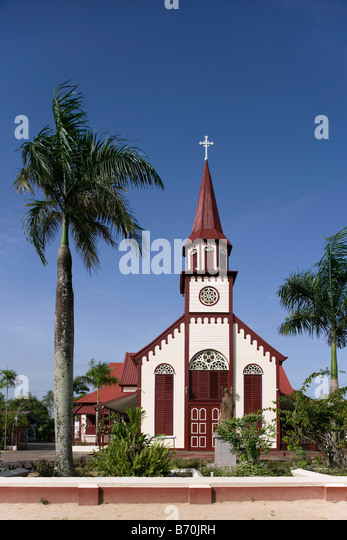 Suriname, Paramaribo, Catholic church, called Sint Alfonsius, in the historic inner city. - Stock Image