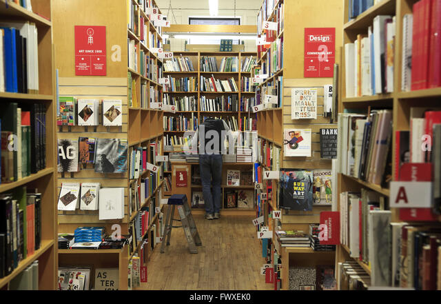 interior view of famous Strand Bookstore in Greenwich Village, Manhattan, New York City, USA - Stock Image