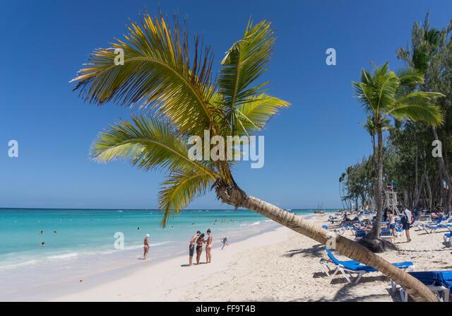 Palm beach, Playa Bavaro, Punta Cana, Dominican Republic, Caribbean - Stock Image