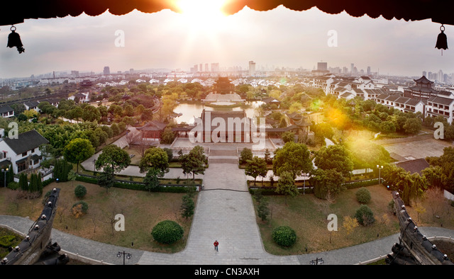 Elevated view of city in China - Stock Image