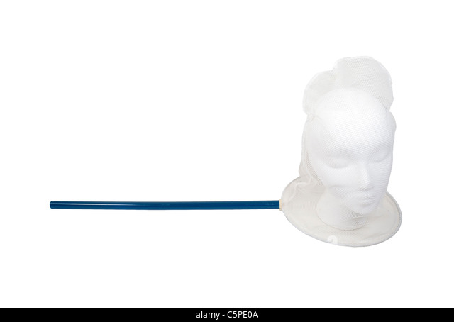 Caught in a net shown by a model head in a butterfly net - path included - Stock Image