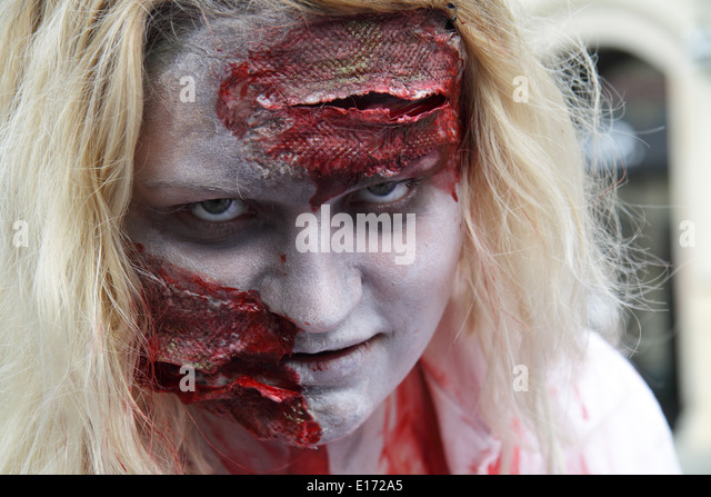 Up close headshot of a female paticipant at the prague zombi walk in may 2014. - Stock Image