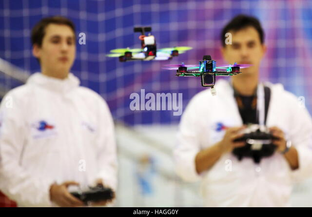 Moscow, Russia. 30th Nov, 2016. Participants in the drone racing championship final as part of the 4th ExpoCityTrans - Stock Image