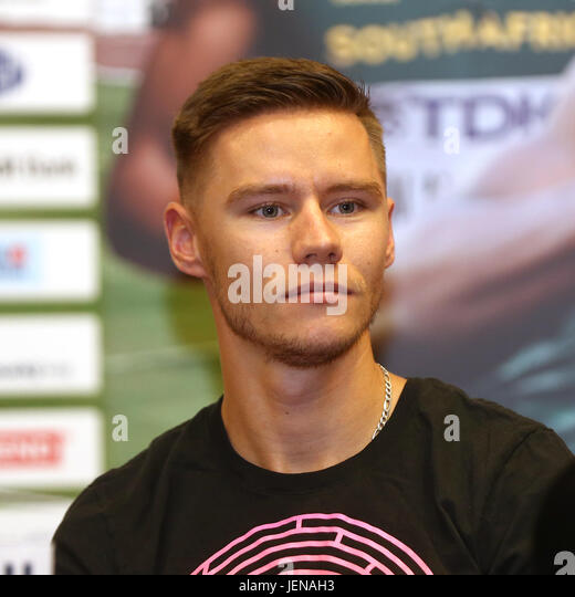 Sprinter Pavel Maslak (Czech) attends the press conference prior to the Golden Spike Ostrava athletic meeting in - Stock-Bilder
