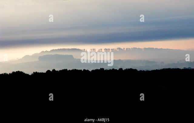 Wiltshire countryside at dawn - Stock Image