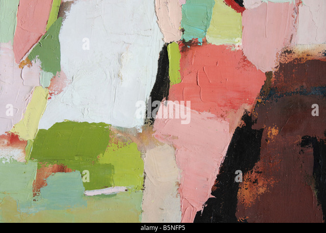 abstract painting detail showing heavy pigment applied with a palette knife (work done by me) - Stock Image