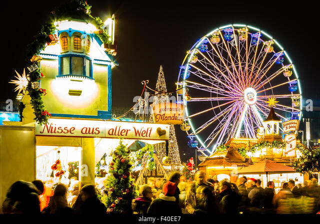 Christmas Market with ferris wheel - Stock Image