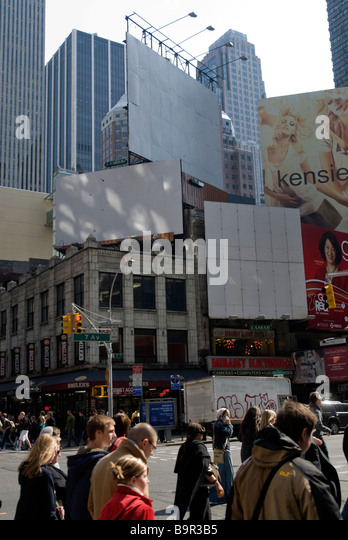 Empty billboards are seen in Times Square in New York - Stock Image