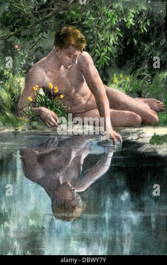 Narcissus admiring his own reflection. - Stock Image