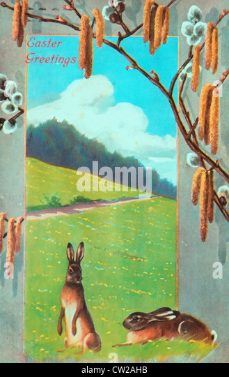 Easter Greetings - vintage card - Stock Image