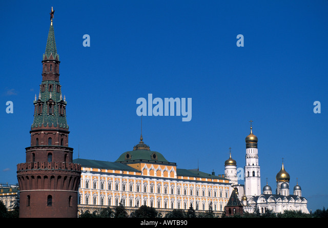 Moscow Russia Kremlin tower blue sky - Stock Image