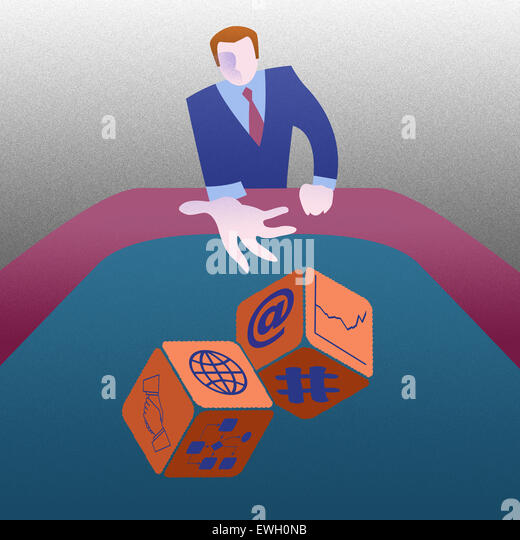 Business throwing dice trying his luck - Stock Image