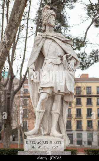 Madrid, Spain - february 26, 2017: Sculpture of Pelagius of Asturias, Madrid. He founded the Kingdom of Asturias - Stock Image
