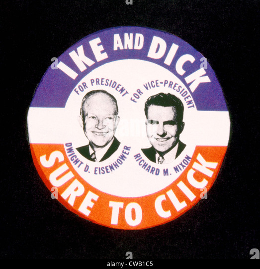 Ike and Dick Sure to Click, campaign button for the Republican ticket of Dwight D. Eisenhower and Richard M. Nixon - Stock Image