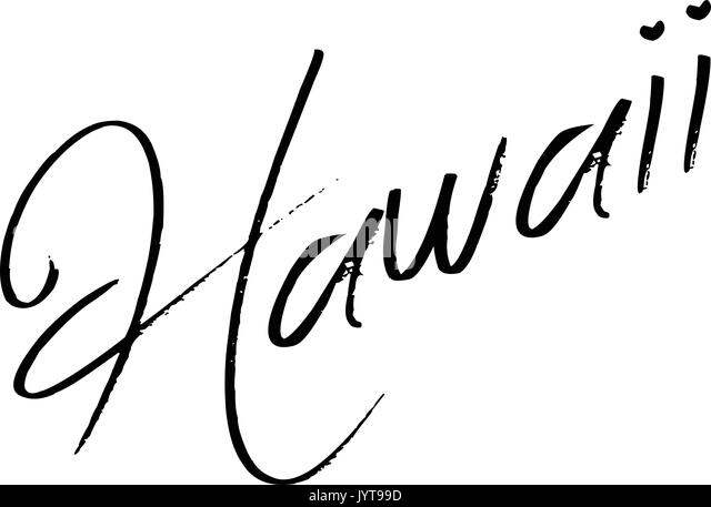 Hawaii text sign illustration on white background - Stock Image