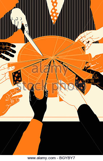 People reaching for slices of cake - Stock Image