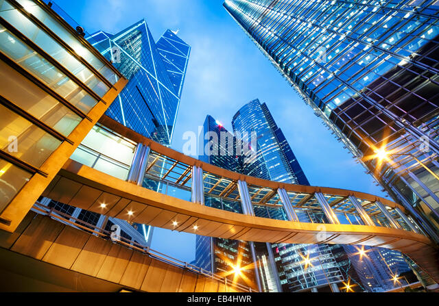 Office buildings in central Hong Kong at night. - Stock Image